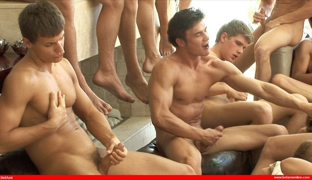 Circle jerk while girls strips